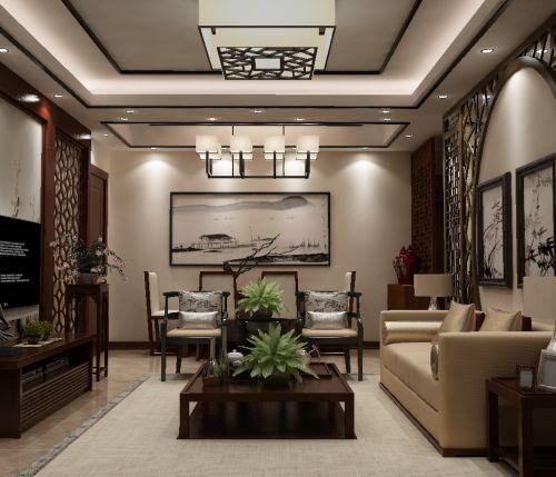 中式古典二居室客厅沙发装修效果图大全