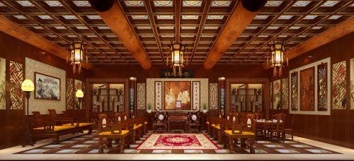 中式古典六居室以上客厅背景墙装修效果图欣赏