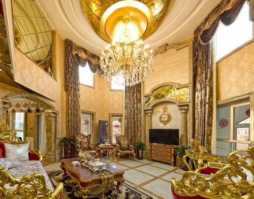 新古典风格五居室客厅吊顶装修效果图