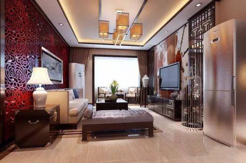 中式古典二居室客厅吊顶装修效果图欣赏