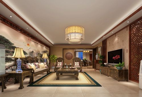 新古典风格四居室客厅背景墙装修效果图欣赏
