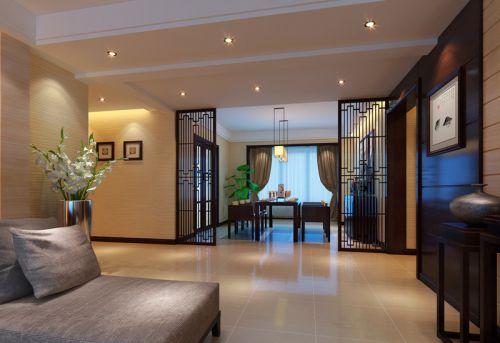 中式古典三居室客厅影视墙装修图片