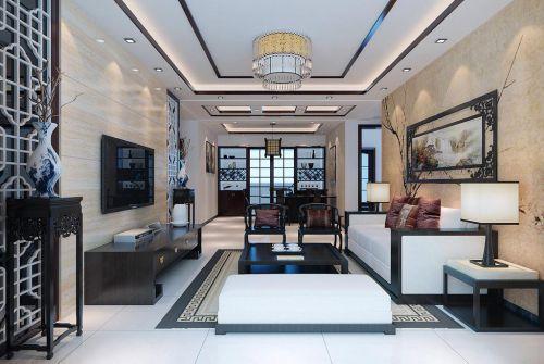 120平新中式古典客厅装修效果图