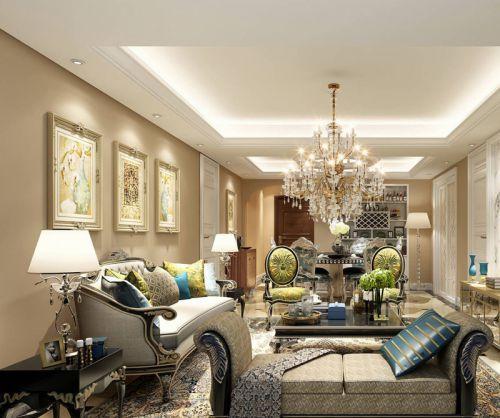 精致奢华欧式古典风格三居室客厅沙发装修效果图