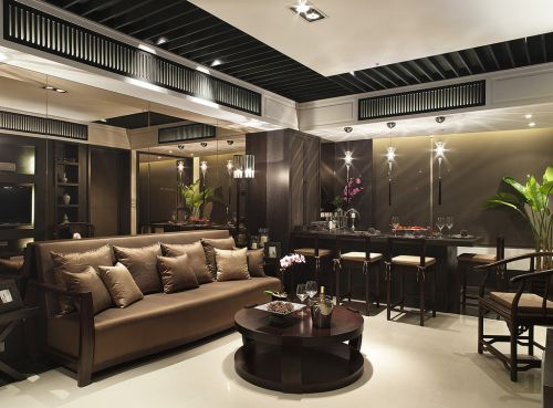 咖啡色系古典雅致中式风格客厅效果图