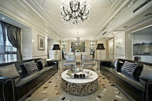 大气精致新古典风格黑色奢华客厅效果图
