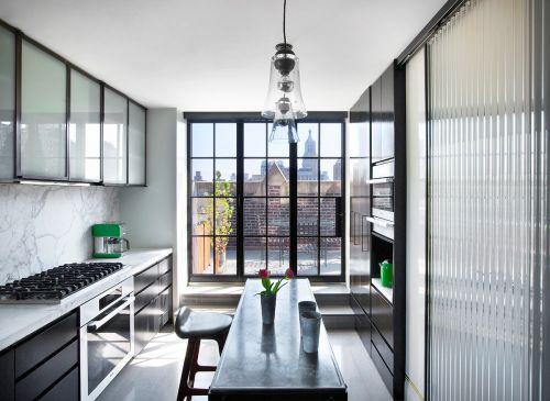 现代时尚厨房里的岛台吧台效果图