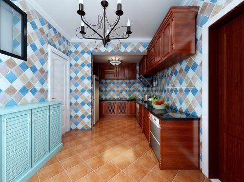 三居室现代美式L型厨房橱柜装修效果图