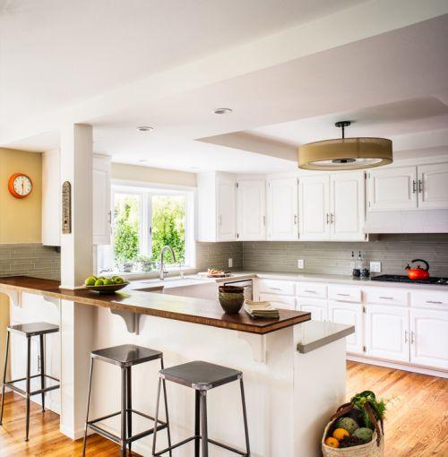 现代风格优雅白色厨房简洁吧台设计图