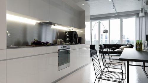 现代混泥土结构黑白厨房装修效果图