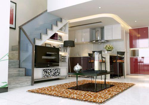 现代简约一居室厨房楼梯装修图片