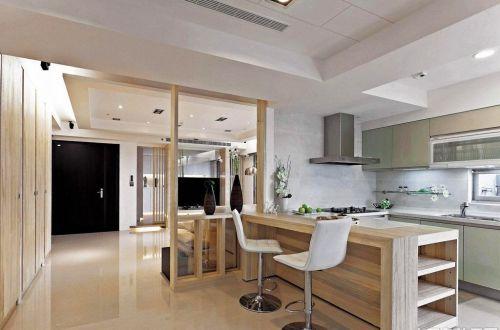 现代风格三居室木色厨房吧台装修效果图