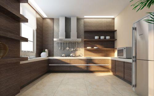 现代咖啡色橱柜厨房装修效果图