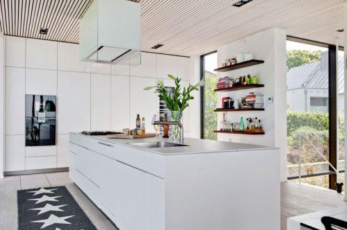 现代风格白色开放式厨房装修效果图