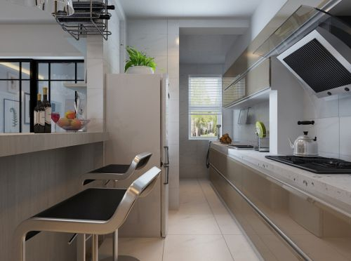 85平两居室现代简约白色厨房吧台装修效果图