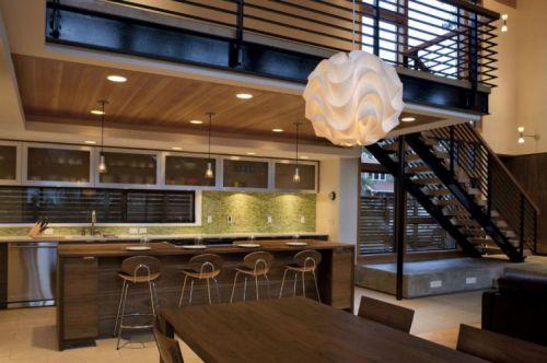 180平时尚别墅现代简约风格敞开式厨房装修图