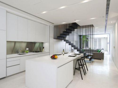 白色现代风格敞开式厨房三层别墅装修案例
