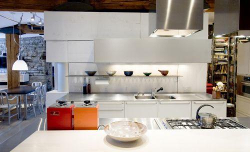 时尚公寓现代风格敞开式厨房装修图