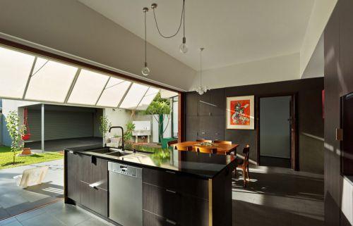 现代简约风格别墅时尚开放式厨房效果图