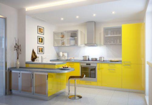 亮黄色现代简约厨房橱柜装修效果图