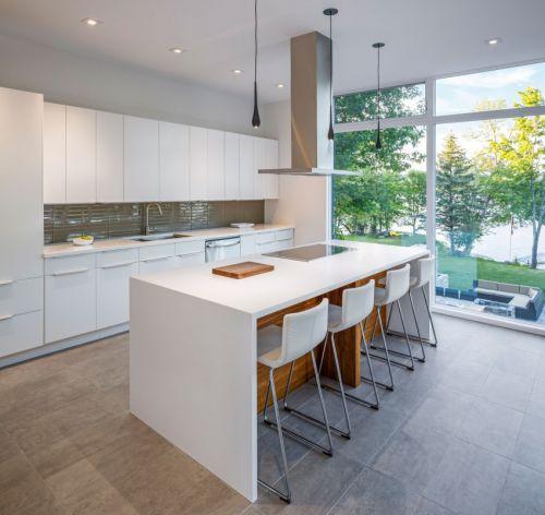 时尚现代简约风格别墅白色厨房设计图