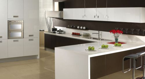 现代简约开放式厨房吧台设计效果图