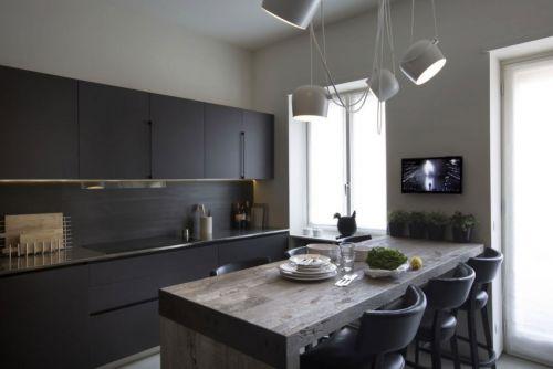 干净利落现代风格厨房木质吧台装修图片