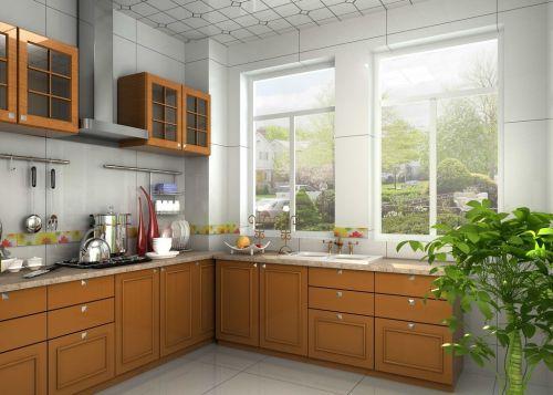 清新原木现代简约厨房效果图