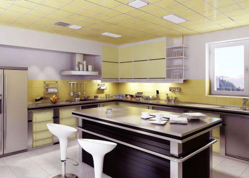 黄色清新亮丽现代简约厨房装修效果图