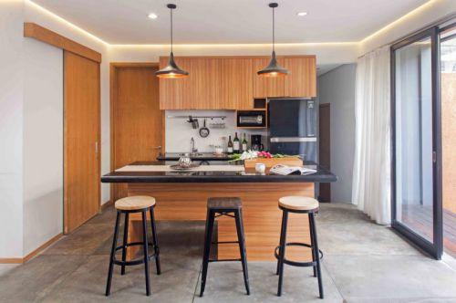 现代风格时尚厨房惬意吧台装修实景图