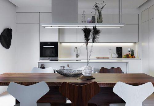现代风格精致大气白色开放厨房效果图