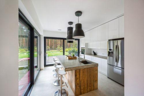 精致现代风格别墅厨房清新吧台设计图