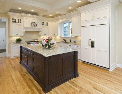 现代简约L型带吧台白色精致厨房装修效果图