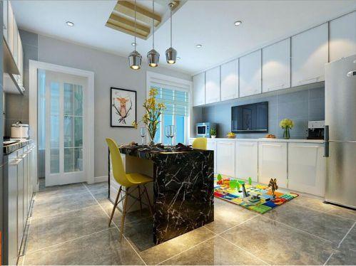 现代简约三居室厨房灯具装修效果图
