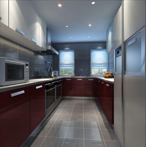 现代简约三居室厨房瓷砖装修图片