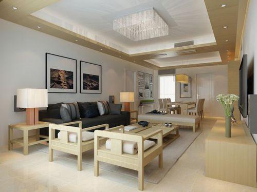韩式风格四居室客厅背景墙装修效果图大全