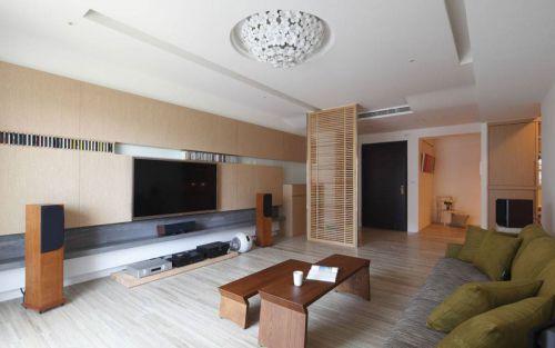 韩式风格三居室客厅背景墙装修效果图欣赏