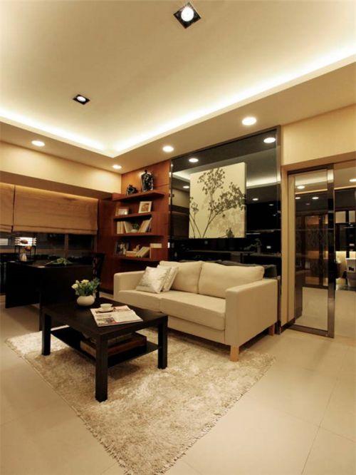 韩式风格一居室客厅吊顶装修效果图大全