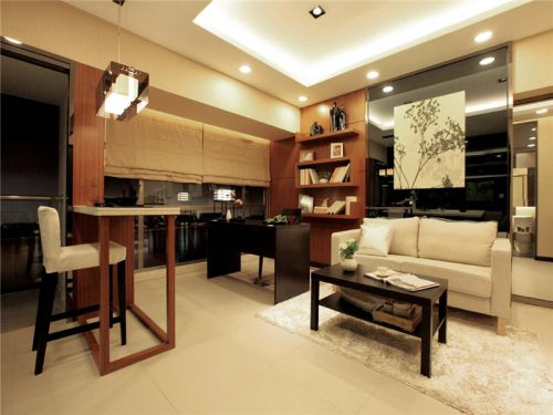 韩式风格一居室客厅背景墙装修效果图