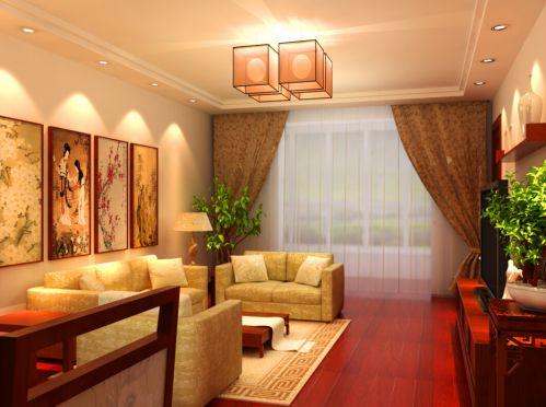 韩式风格三居室客厅背景墙装修图片