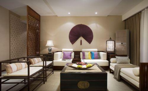 128平三居棕色日式风格客厅屏风装修效果图