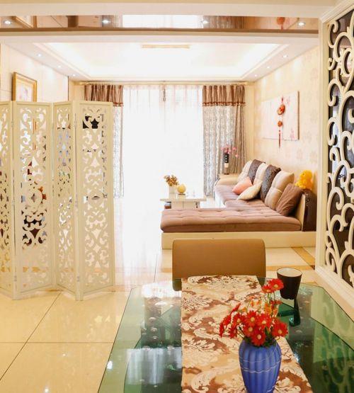 小清新韩式两居客厅白色屏风效果图