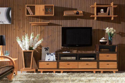客厅日式实木电视柜效果图