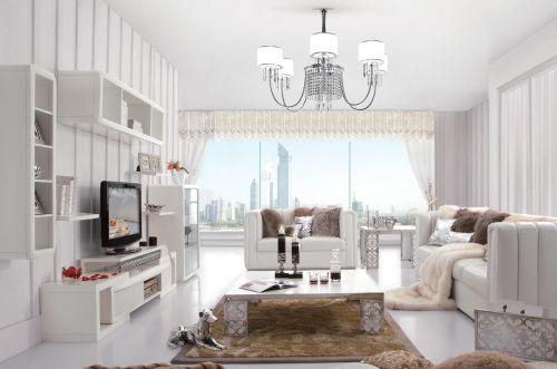客厅韩式时尚白色电视柜装修效果图设计