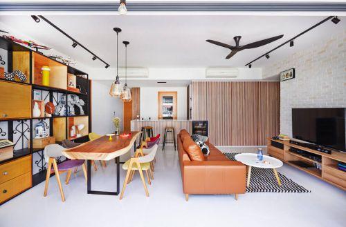 木质简约日式混搭客厅组合柜装修效果图