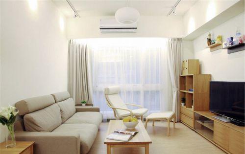 日式风格整体一室客厅白色背景墙装修图