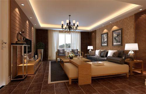 日式风格客厅沙发背景墙咖啡色壁纸装修图片
