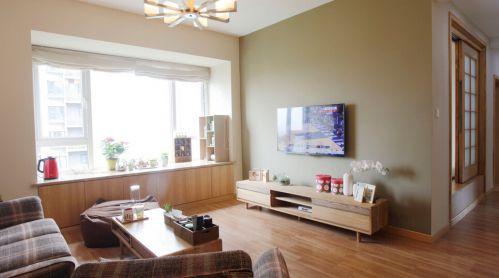 低调简约韩式风格原木客厅飘窗实景效果图