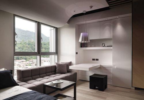 日式风格小户型客厅组合柜吧台装修设计