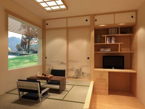 日式风格传统韵味客厅榻榻米装潢设计效果图